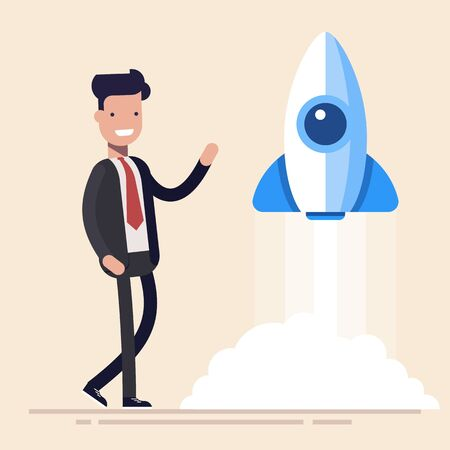 Rocket launch, ship, concept start of business product on a market. Flat vector illustration in cartoon style.