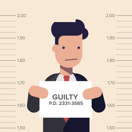 Caught guilty businessman or manager with ID signs on his hand. Concept dishonest business flat vector illustration in cartoon style.
