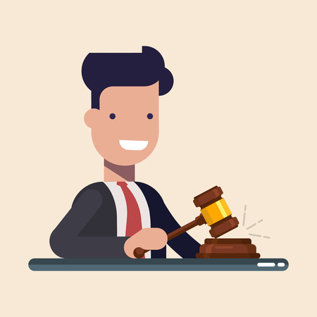 Business man or manager hold in hands Gavel justice symbol. Flat vector illustration in cartoon style isolated on blue background Vectores