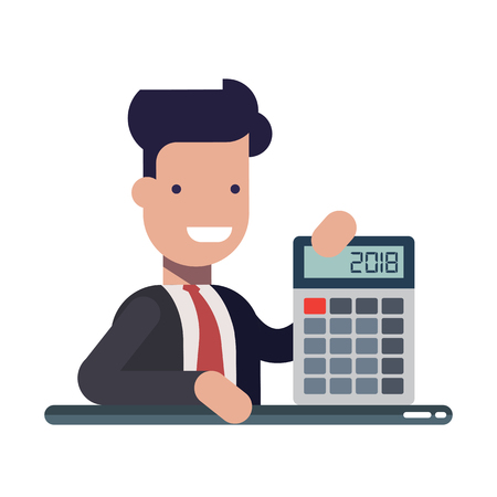Young businessman or manager with calculator in hands. An experienced financier. The concept of financial literacy. Cartoon vector illustration. Illustration