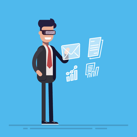 Young businessman or manager with virtual reality charts and data in front of him. Cartoon flat vector illustration isolated on blue background. Illustration