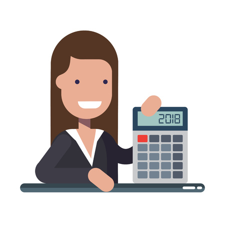 Young businessman or manager with calculator in hands. An experienced financier. The concept of financial literacy. Cartoon vector illustration. Stock Photo