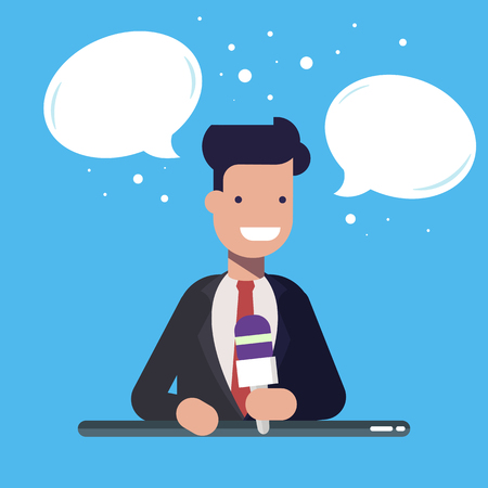 Businessman speaking into microphone with speech bubbles over his head.