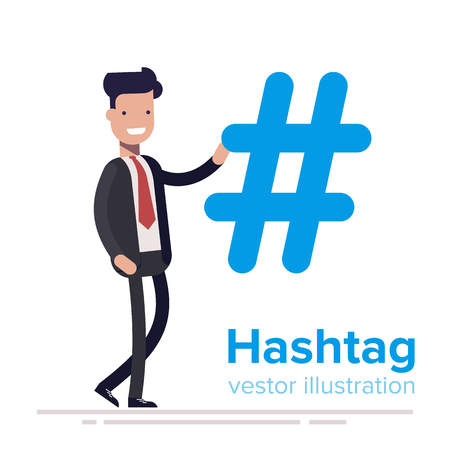 Hashtag concept. Promotion of social networks. Description tags. Social media.