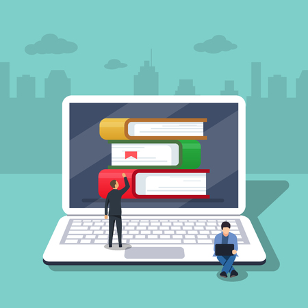 Flat cartoon pc with books, concept of ebook library, digital online study, icon isolated image. Vector illustration. Little people are working on the background of laptop.