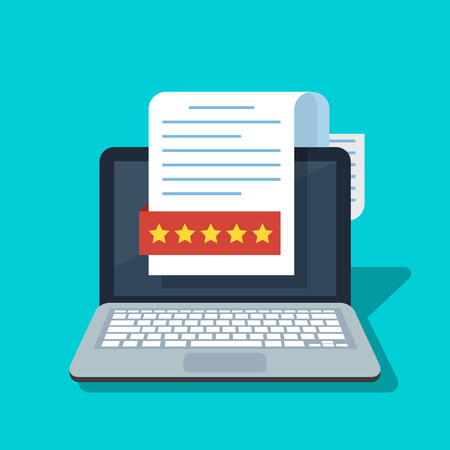 Document with a rating or recall on the laptop screen.