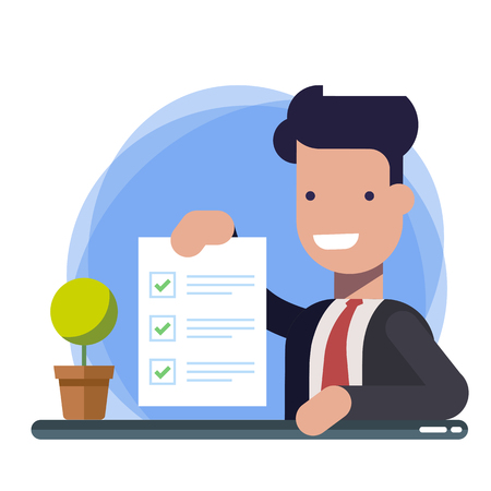 Survey or exam form paper sheet in hand of businessman, answered quiz checklist and success result assessment. Happy person showing questionnaire document. Flat cartoon clipart image isolated. 矢量图像