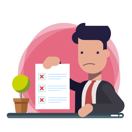 Survey or exam form paper sheet in hand of businessman, answered quiz checklist and failure result assessment. Sad person showing questionnaire document. Flat cartoon clipart image isolated.