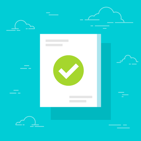 Document and checkmark icon, flat cartoon paper doc page with approved tick sign. Folded sheet with success or passed verification data, concept or correct form or agreement symbol image. Isolated. Ilustração