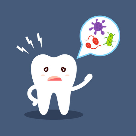 Cartoon tooth tells about oral hygiene. Microbes in the speech bubble. Diseases of the teeth, caries. Flat vector illustration isolated on dark background.