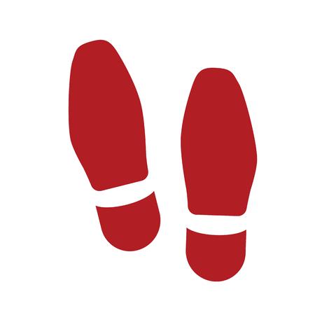 Vector shoe footprint illustration - human foot print symbol, feet silhouette isolated flat.
