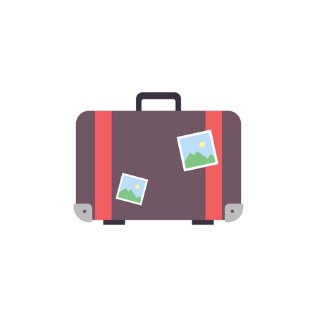 Retro travel suitcase wiht stickers - flat vector illustration isolated on white background