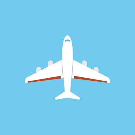 Airplane icon - flat vector illustration isolated on blue background