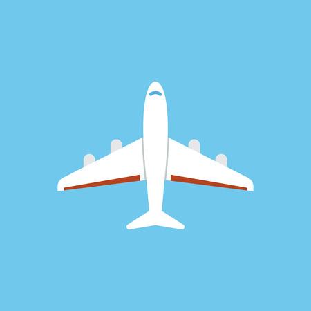 Airplane icon - flat vector illustration isolated on blue background. Stock Photo