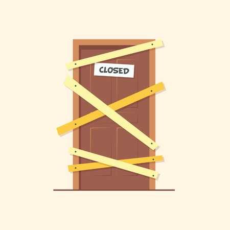 Closed door. Locked door on a business that has gone bankrupt. Installing boards on the door to prevent unauthorized access, or abandoned. Flat vector illustration.