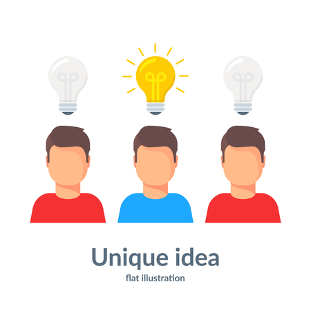 Unique idea. Person with a light bulb head standing out illustration. Flat vector illustration Stock Illustratie
