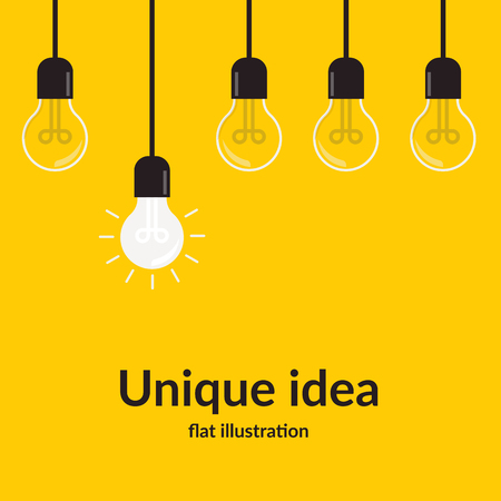 Unique idea. Bright idea and insight concept with light bulb, Isolated on yellow background, creative idea and leadership concept background, Flat style vector illustration