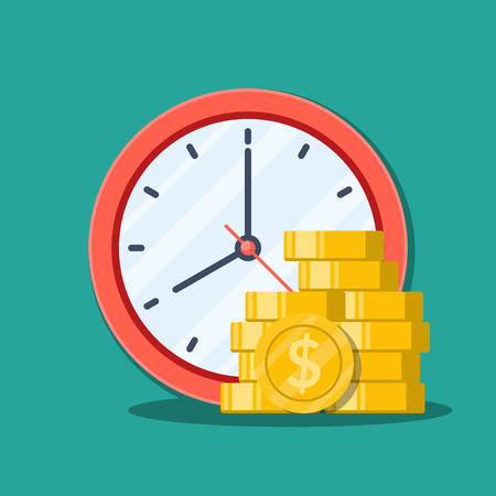 Time is money concept. Office clock and Money. Flat Vector Illustration isolated on green background