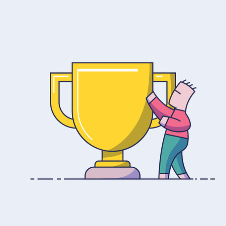 Winner concept. The man on the background of a large golden cup. Reward for labor. First place. Line style vector illustration