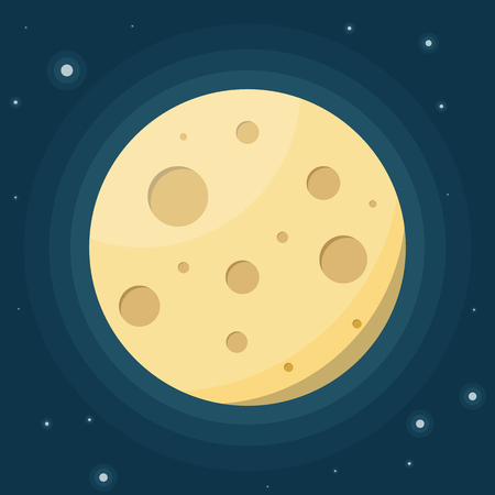 Moon against the starry sky. Night sky. Flat vector illustration Stock Illustratie