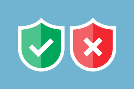 Shields and check marks. Red and green shield with checkmark and x mark. Approved and rejected. Protection, security, secure data. Confidential information, privacy. Illustration flat style