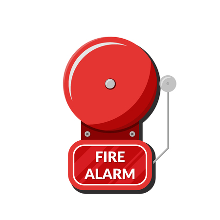 Fire alarm system. Fire equipment. Vector illustration in flat style isolated on white background