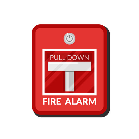 Fire alarm system. Pull danger fire safety box. Break red alarm equipment detector. Vector illustration in flat style isolated on white background