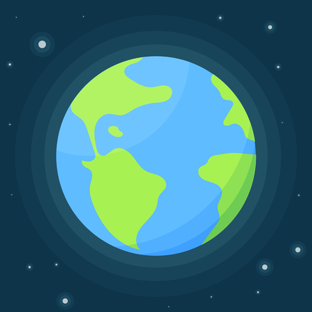 Planet Earth with atmosphere against the starry sky. Vector illustration in flat style