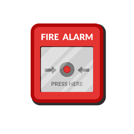 Fire alarm system. Press button fire safety box. Break red alarm equipment detector. Vector illustration in flat style isolated on white background