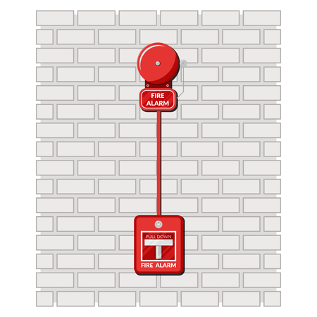 Fire alarm and alarm button on a brick wall. Precautionary measures. Security Inspection. Vector illustration in flat style Stock Illustratie