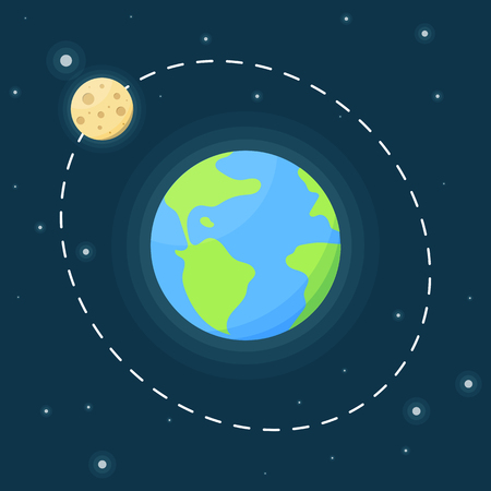 Planet Earth and the trajectory of the moon against the starry sky. Vector illustration in flat style