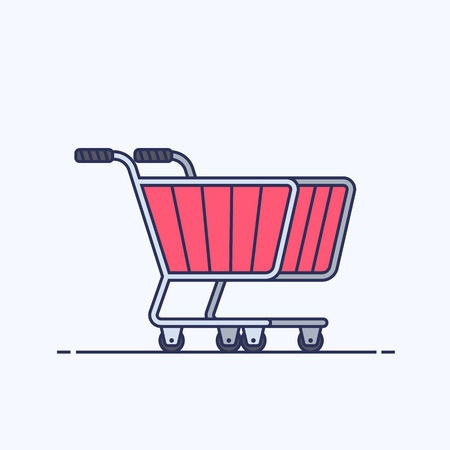 Shopping cart. Trolley for supermarket or store. Outline flat illustration isolated on white background