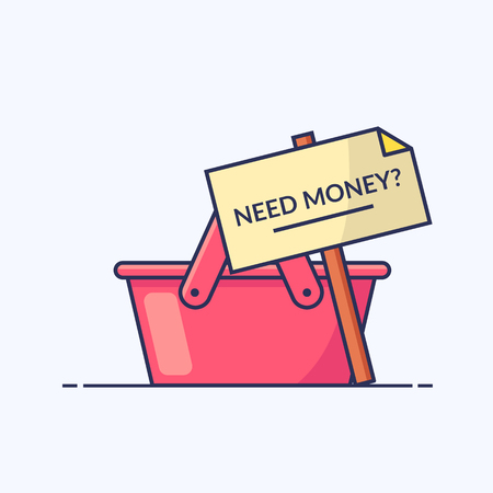 Empty shopping basket. Sign with the words Need money. Icon for your newsletter or site. Outline flat illustration isolated on white background