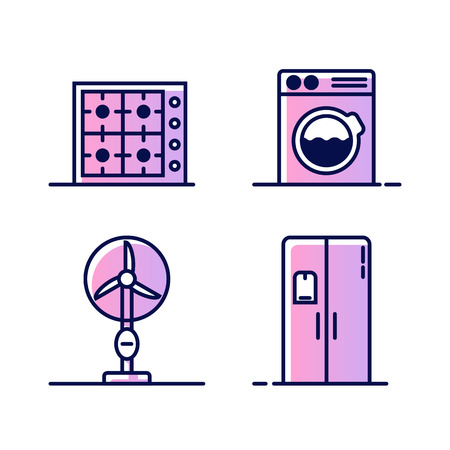 Set of icons with home appliances. Gas or electric stove, washing machine, fan and refrigerator or freezer. Icons for web or buttons isolated on white background