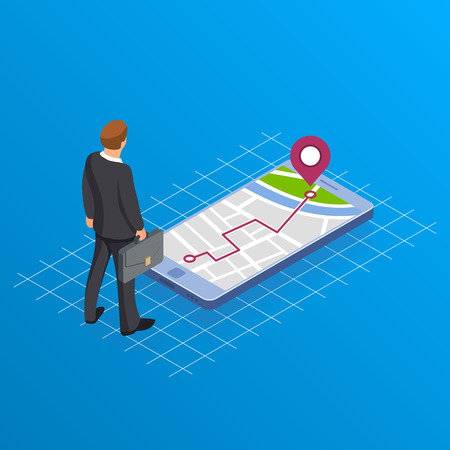 Concept of paving the way in business. Businessman or manager with a suitcase is standing near the phone with the image of navigator map. Route is laid. Intended target. Isometric vector illustration