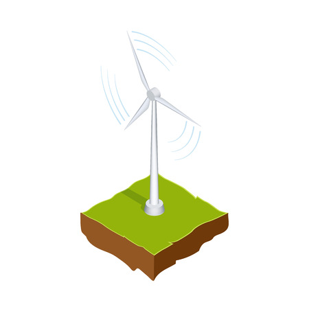 Wind generator or mill. Renewable energy source. The method of production of electricity without pollution. Vector isometric illustration isolated on white background Stock Illustratie