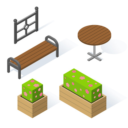 Set of decorative objects for the design of the park or the local area. Wooden bench and round table. Flower beds with flowers. Metal fence or fencing. Vector isolated isometric illustration Stock Illustratie