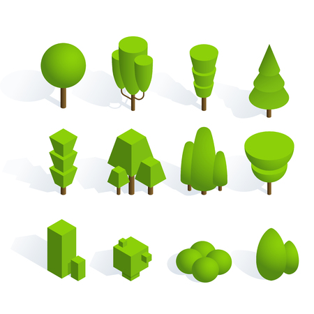 Set of isometric trees and bushes with shadow on white background. Volumetric objects for the design of illustrations of parks and cities