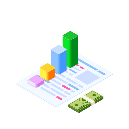 Isometric infographic. Consult and administration. Corporate risk graph to engineering advertising value. Account planning grow, management or calculate report of audit. Business illustration
