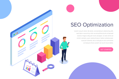 Modern flat design isometric concept of SEO Analysis for banner and website. Search engine optimization, strategies and marketing. Isometric landing page template