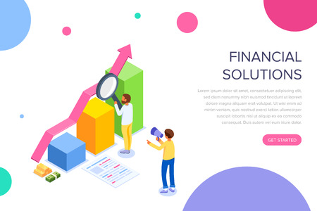 Financial solution concept with characters. Can use for web banner, infographics, hero images. Flat isometric vector illustration isolated on white background.