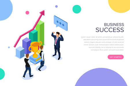Business success or teamwork concept with characters. Can use for web banner, infographics, hero images. Flat isometric vector illustration isolated on white background.