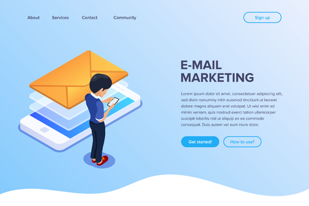 Isometric email marketing concept. Sending emails using a mobile phone or web version of your site. Can use for web banner, infographics, hero images.