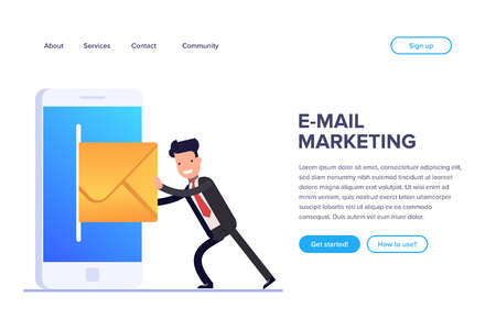 Flat email marketing concept. Sending emails using a mobile phone or web version of your site. Businessman or manager pushes a letter. Can use for web banner, infographics, hero images. Illustration