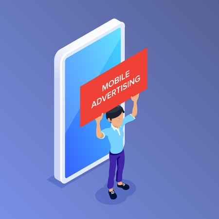 Flat Isometric mobile advertising concept. Man with a poster in his hands on the background of a mobile phone. Can use for web banner, infographics, promotion