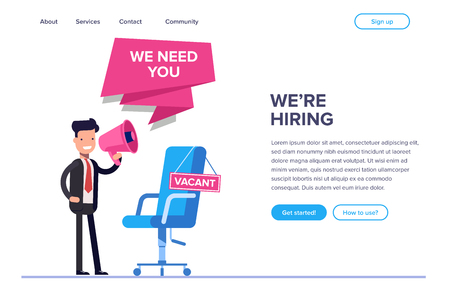 Flat we are hiring concept. Businessman or HR manager speaks in megaphone. Empty workplace with a sign. Can use for web banner, infographics, hero images.