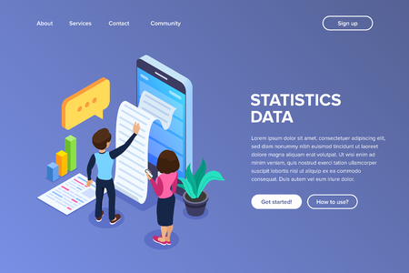Isometric statistics data concept. Notification on financial transaction, mobile bank, smartphone with paper bill. Man and woman use mobile device. Can use for web banner, infographics, hero images.