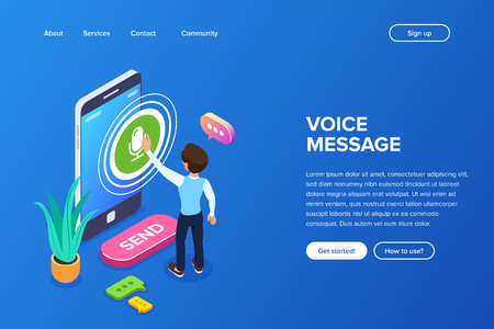Isometric record voice message concept. A person records a voice or audio message using a mobile phone. Speech bubbles and a flower on the background of the smartphone. Stockfoto - 117814789