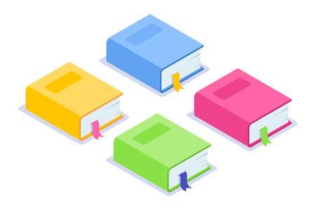 Isometrische flache Buchsymbol. Mehrfarbige dicke Bücher mit Lesezeichen und Schatten. Gelbe, blaue, rosa und grüne Optionen. Kann für Webbanner, Infografiken, Werbung verwendet werden