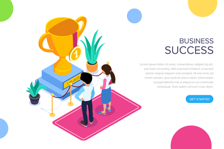 Isometric business succes concept. Gold Cup for successful teamwork. Award for achieving the goal. Office staff. Can use for web banner, infographics, hero images. Illustration